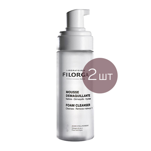 Филорга Мусс для снятия макияжа (2 штуки)Очищение кожи лица<br>Filorga Foam cleanser (Филорга Мусс для снятия макияжа (2 штуки)) для всех типов кожи.<br>Мягкий мусс для очищения и снятия макияжа. Бережный уход за нежной кожей вокруг глаз, оказывает очищающее, укрепляющее и оздоравливающее действие. Гиалуроновая кислота в составе мусса эффективно увлажняет и разглаживаеткожу.<br><br>Тип кожи: всех типов