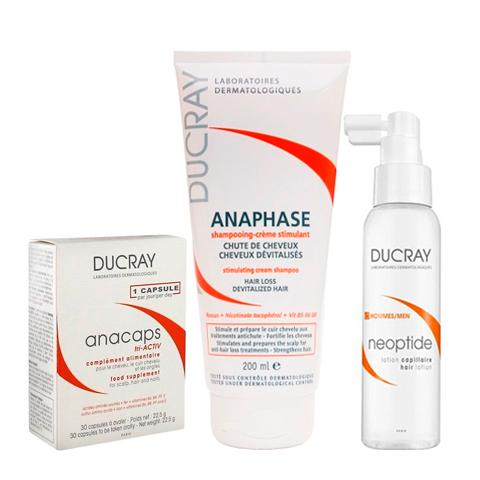 Дюкре Набор Комплексный уход против потери волос (3 средства)Уход за волосами<br>Дюкре Набор Комплексный уход против потери волос (3 средства) для всех типов волос и кожи головы.<br>Волосы ежедневно подвергаются внешним агрессивным воздействиям. Постепенно происходит снижение уровня аминокислот, которые участвуют в процессе синтеза кератина, отвечающего за целостность и здоровье волос. Как следствие, структура волос ослабляется, они теряют естественный блеск и гладкость, становятся ломкими. Появляется проблема секущихся кончиков, а в некоторых случаях и выпадение волос. Для восстановления жизненной силы вашим волосам поможет Комплексный уход против потери волос от Дюкрэ. При регулярном применении Лосьон Неоптид устраняет причину хронического выпадения волос у мужчин. Дюкрэ Анафаз Шампунь стимулирующий укрепляет волосы, подготавливает их к лечению против выпадения, восстанавливает объем, силу и энергию. Капсулы Дюкрэ Анакапс идеально подходят для мужчин, и на 100% обеспечивают ваши волосы железом, биотином и аминокислотами.<br><br>Тип кожи: всех типов