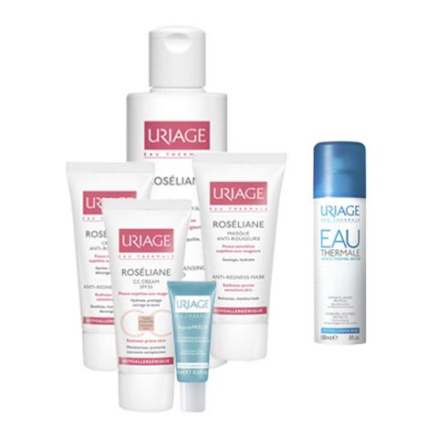 Урьяж Набор Комплексный Уход за кожей, склонной к куперозу + Термальная вода в подарок (6 средств) (Uriage)
