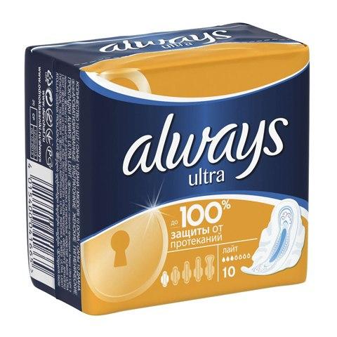 Always Ultra Light Прокладки N10: фото, цены, описание товара, отзывы и наличие в Москве и Санкт-Петербурге