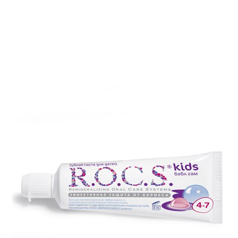 R.O.C.S. Зубная паста Kids 4-7 Бабл гам (Туба 45 г): фото, цены, описание товара, отзывы и наличие в Москве и Санкт-Петербурге
