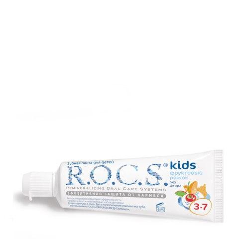 R.O.C.S. Зубная паста Kids 3-7 Фруктовый рожок без фтора (Туба 45 г): фото, цены, описание товара, отзывы и наличие в Москве и Санкт-Петербурге