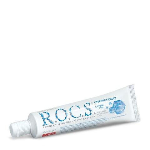 R.O.C.S. Зубная паста отбеливающая Белый стих без фтора (Туба 74 г): фото, цены, описание товара, отзывы и наличие в Москве и Санкт-Петербурге