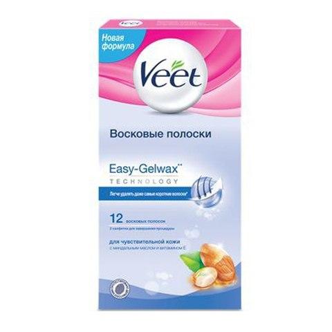 Veet Восковые Полоски для депиляции для чувствительной кожи Easy Gel-Wax (12 шт): фото, цены, описание товара, отзывы и наличие в Москве и Санкт-Петербурге